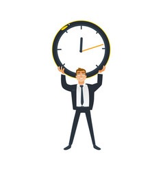 businessman and time concept - young office worker vector image