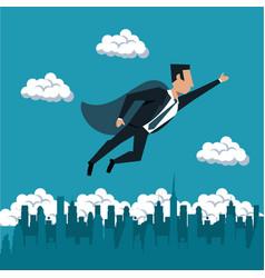 Businessman flying with superhero cap vector