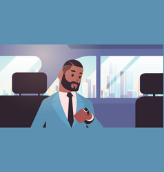 Businessman looking at clock checking time african vector