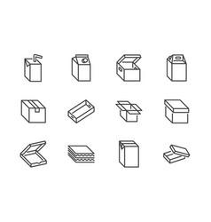 carton flat line icons set cardboard box juice vector image