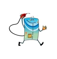 Cartoon bank credit card with gasoline nozzle vector