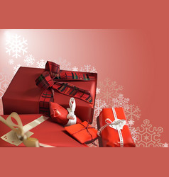 christmas background with red gifts vector image