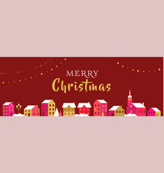 christmas greeting card with winter village vector image