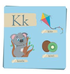 colorful alphabet for kids - letter k vector image