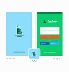 company dubai hotel splash screen and login page vector image