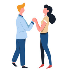 couple holding hands man and woman love isolated vector image