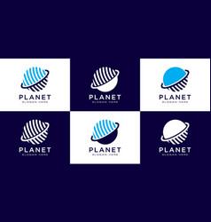 Creative planet orbit abstract logo design and vector