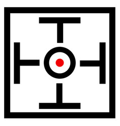 Cross hair target mark symbol with red dot vector