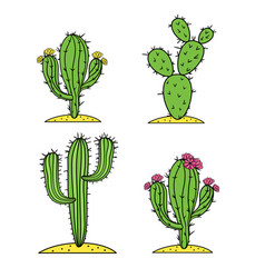 Cute desert cactus set with flowers vector