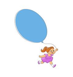 Cute little girl in dress running with big balloon vector