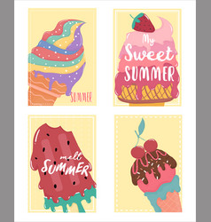 cute sweet melted ice cream summer card set with vector image