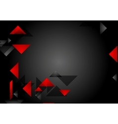 Dark red black tech geometric background vector