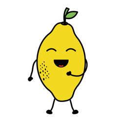 Delicious mango fruit kawaii character vector