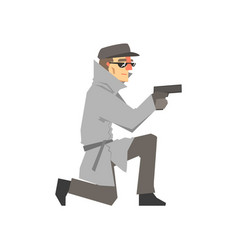 detective character in a gray coat aiming a gun vector image
