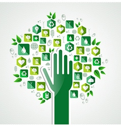 Eco green hand tree vector image