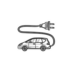 electric car with plug hand drawn outline doodle vector image