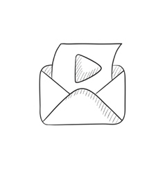 Envelope mail with play button sketch icon vector image