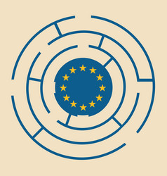 european union flag in the labyrinth vector image