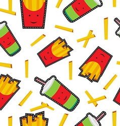 Fast food stitch patch icons seamless pattern vector image