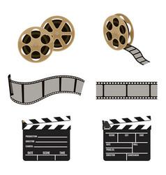 Film reel and clapper board symbols of filmmaking vector