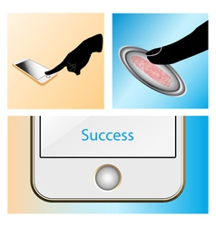 Fingerprint scan Touch mobile vector image