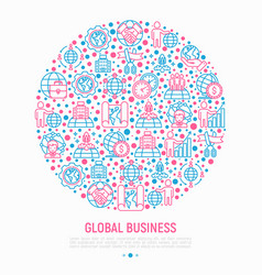 Global business concept in circle vector