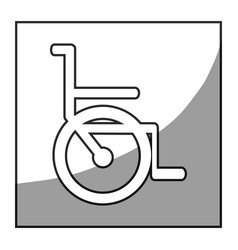 Grayscale square frame shading with wheelchair vector