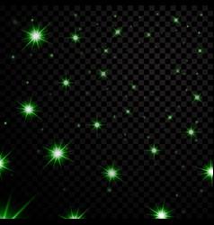 green light stars on black transparent background vector image