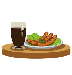 Grilled sausages and dark beer vector