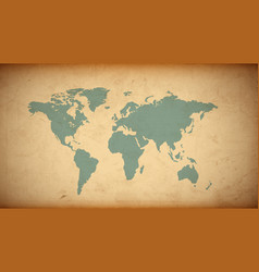 grunge world map on old paper vector image