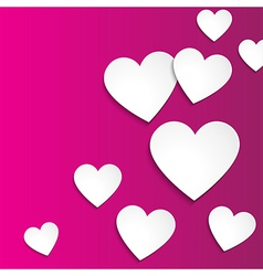 Happy Valentines day simple paper hearts on pink vector image