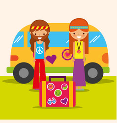 Hippie woman and man with van and suitcase free vector