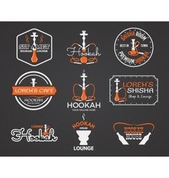 Hookah labels badges and design elements vector
