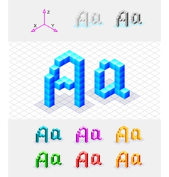 Isometric font from the cubes Letter A vector