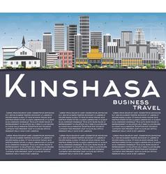 Kinshasa Skyline with Gray Buildings Blue Sky vector image