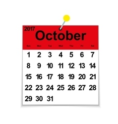 Leaf calendar 2017 with the month of October vector
