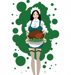 maid with turkey roast vector image