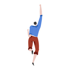 Man running with hand up in air back view vector
