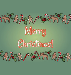 merry christmas holly and ginger cookies green vector image