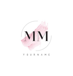 Mm m m watercolor letter logo design with vector