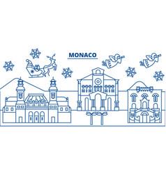 Monaco winter city skyline merry christmas happy vector
