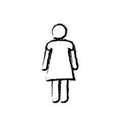 Monochrome sketch of pictogram woman vector