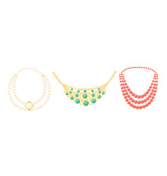 Necklace beads boho style jewelry gold pears vector