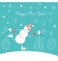 New Year skating happy snowman vector image vector image