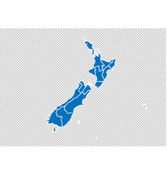 new zealand map - high detailed blue map with vector image