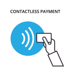 nfc payment outline icon pos terminal vector image