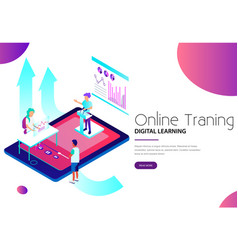 Online training and digital learning landing web vector