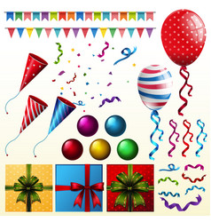 party elements with balloons and presents vector image