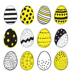 Pattern with easter eggs doodles vector