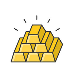Pile of gold bar filled outline icon vector